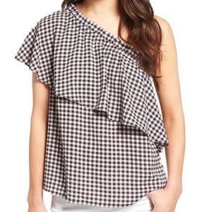 Gingham BP. Black & White One Shoulder Ruffle Top
